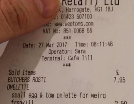 Woman called 'weird freak' on receipt