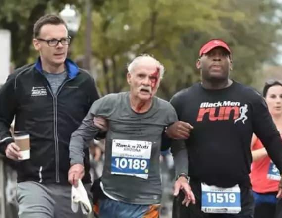 Two 'angels' help 73-year-old finish half-marathon