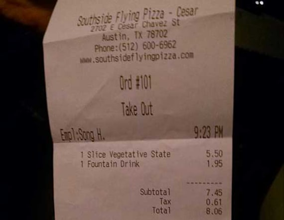 Pizzeria fires employee for anti-police receipt