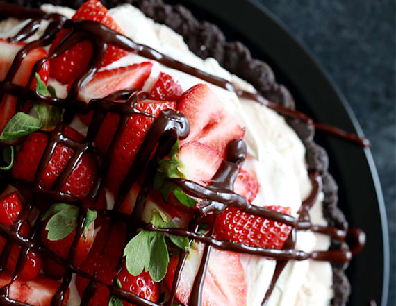 Chocolate covered strawberry ice cream tart