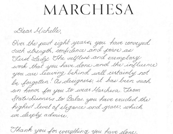 Designers write thank you notes to the First Lady