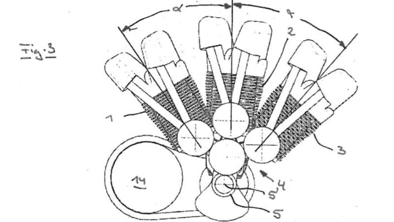 BMW patents strange three-cylinder pushrod engines, perhaps for cruiser motorcycle