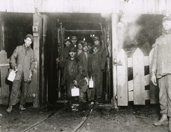 Vintage photos of coal miners in America