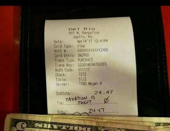 Customer gives server 'gift' because tax is 'theft'