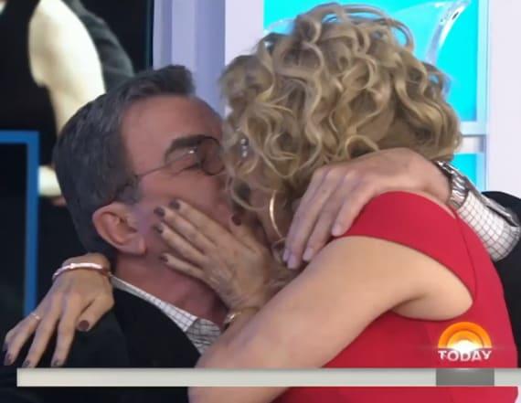 Kathie Lee Gifford kisses Tom Selleck on 'Today'