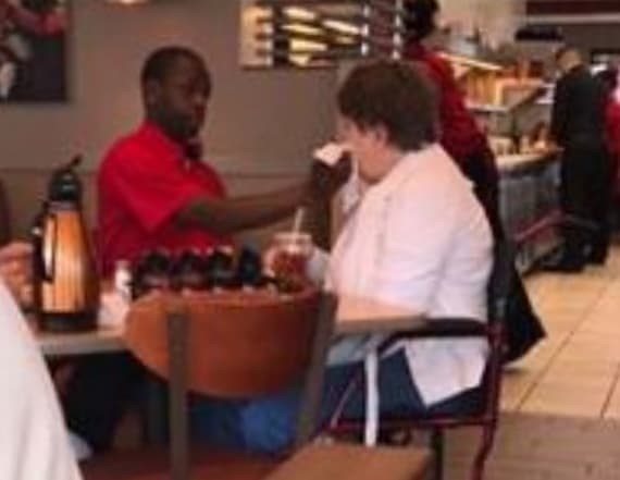 IHOP waiter hand feeds disabled patron