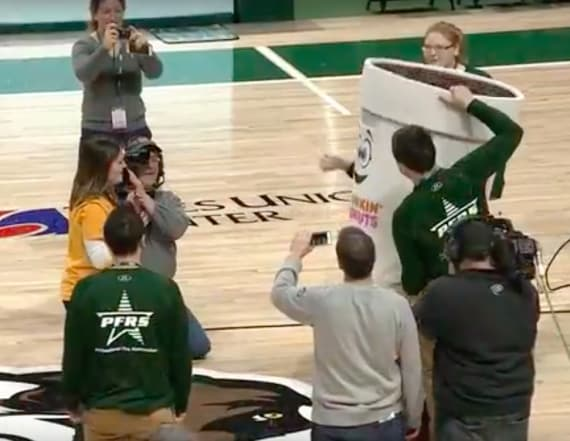 Woman's half-court shot ends with proposal