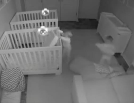 Parents catch unbelievable sight in security footage