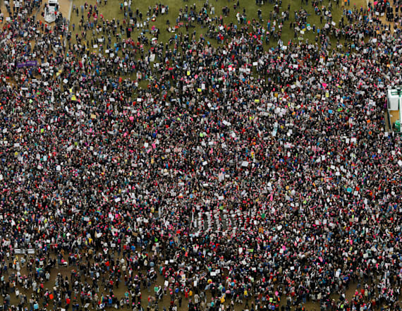 Aerial photos show the contrast between crowds