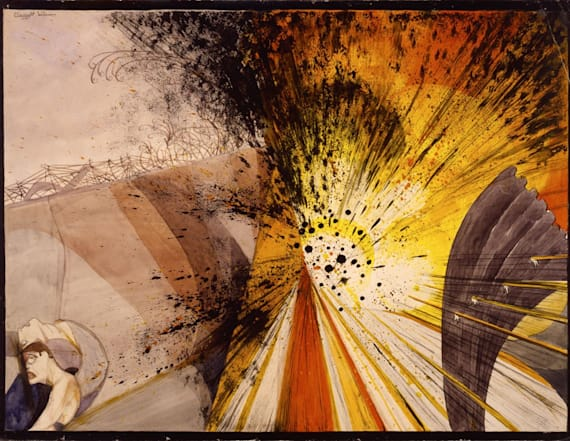 Watercolor paintings of the WWI battlefield