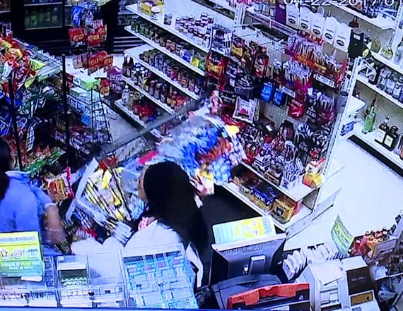 Video shows women trash store, drive over employee