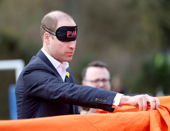 Prince William pitches a tent while blindfolded