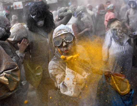 Greek villagers participate in the Flour War