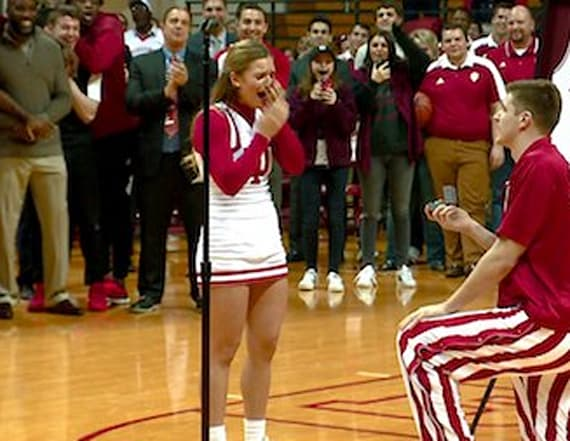 College basketball player proposes on Senior Night