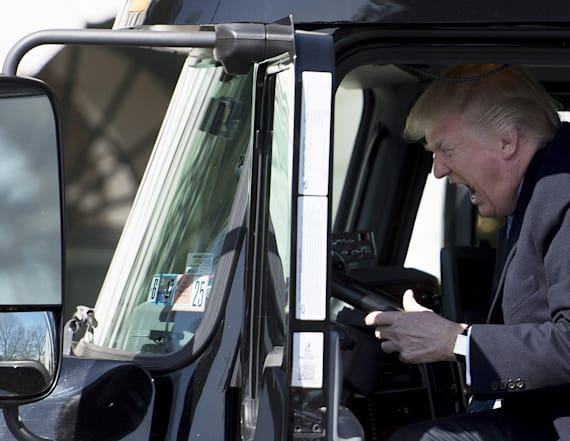 Donald Trump plays with a semi-truck