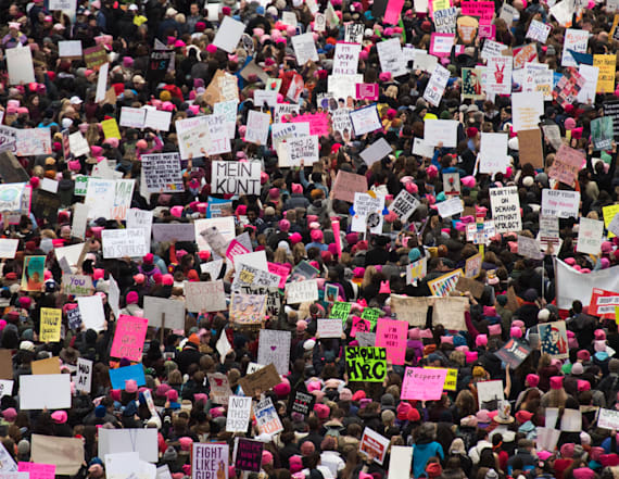 Trump slams women's march protesters