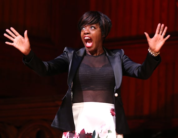 Viola Davis rocks sheer top and black bra