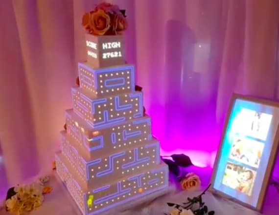 Company projects video on wedding cakes