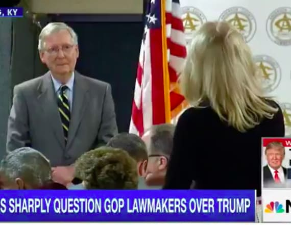 Woman rants at McConnell about jobs and healthcare