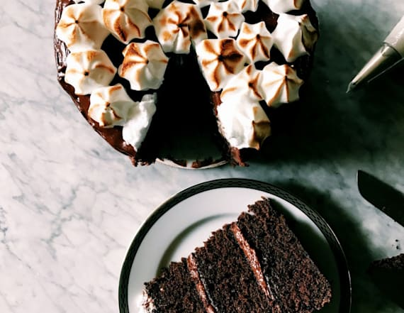 Decadent chocolate layer cake with toasted meringue