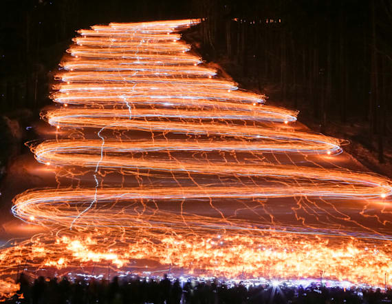 Skiers and snowboarders light up the slopes