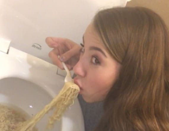 Teen posts photo while eating out of the toilet