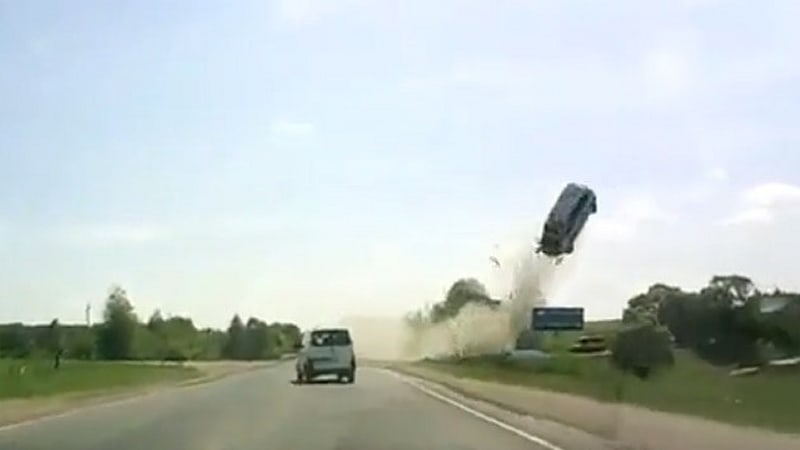 Russian Dash Cam Catches Horrific High Flying Accident