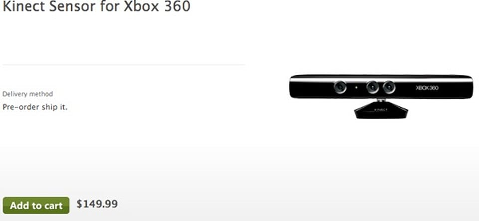 Kinect For Xbox 360 Now Listed For 150 At Microsoft S