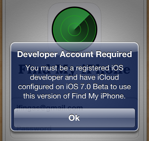 find my iphone log in dev only find my iphone update pushed to consumers breaks 7836
