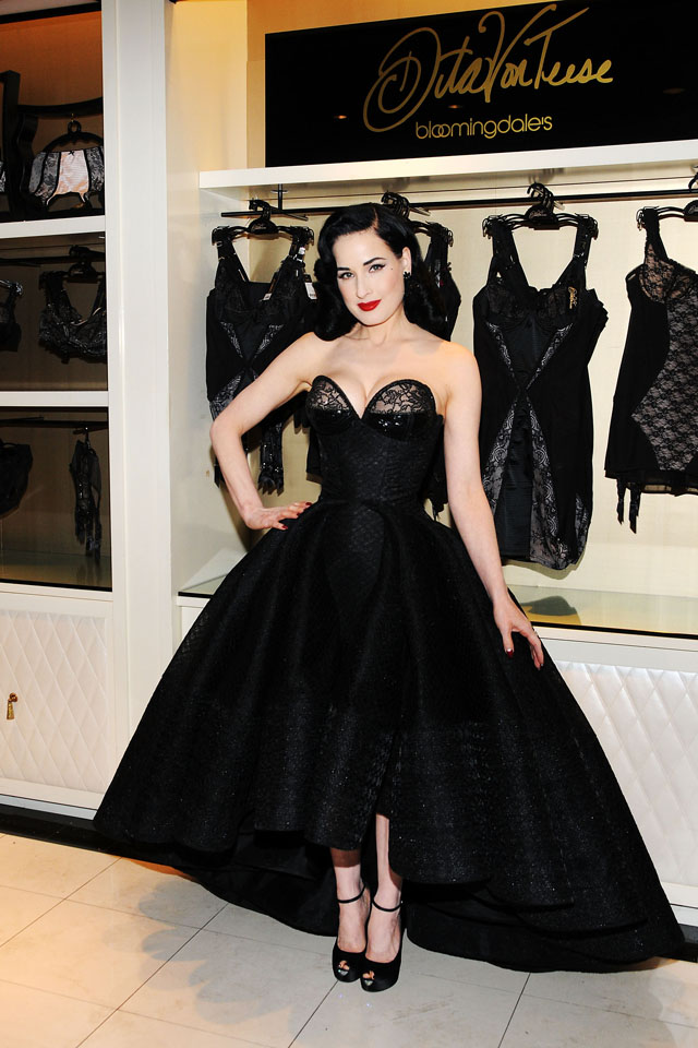 dita von teese launches the dita von teese lingerie collection in a ball gown of course. Black Bedroom Furniture Sets. Home Design Ideas