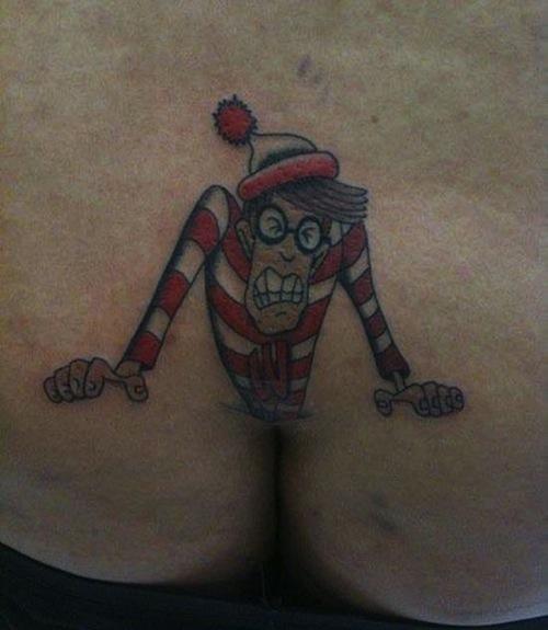 butt crack tattoos, funny buttcrack tattoo, funny butt tattoos