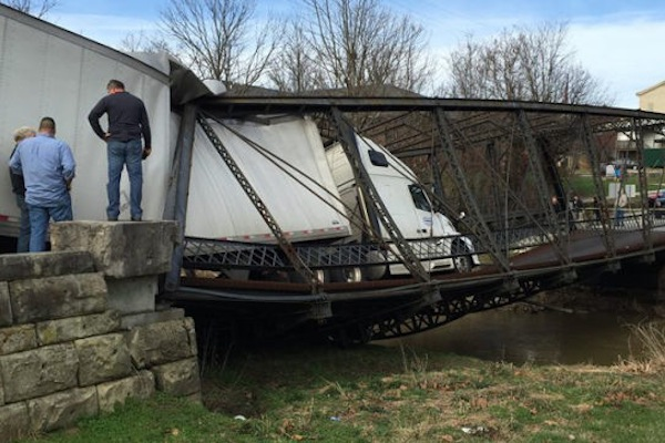 things you don't see every day, trucker destroys 135-year-old bridge