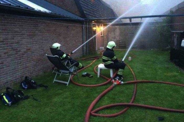 people being extremely lazy, funny lazy people, sitting firefighters