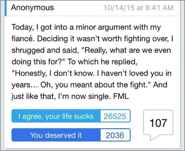 worst cases of fml in history, worst fml stories, breakup fml