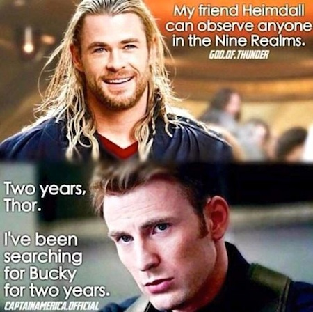 superheroes being super a-holes, superheroes being jerks funny, thor heimdall bucky two years