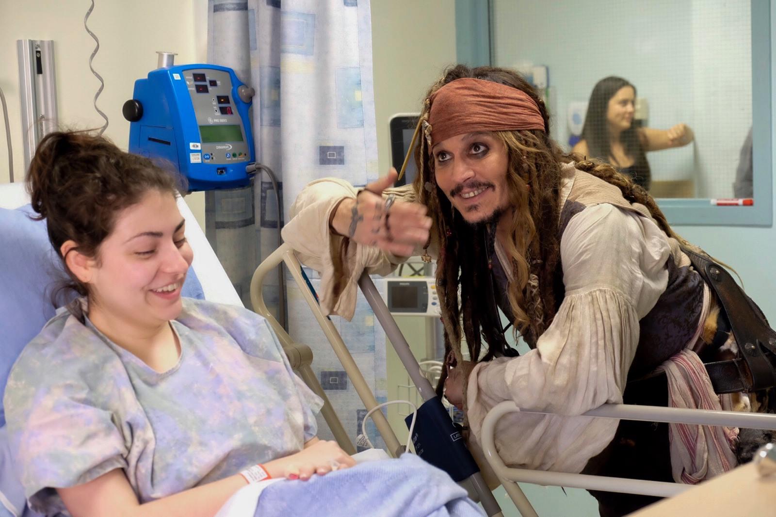 Johnny Depp As Capt. Jack Sparrow Delights Kids At BC Children's Hospital