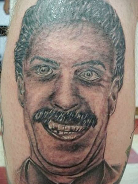 worst tattoos of celebrities, sacha baron cohen borat
