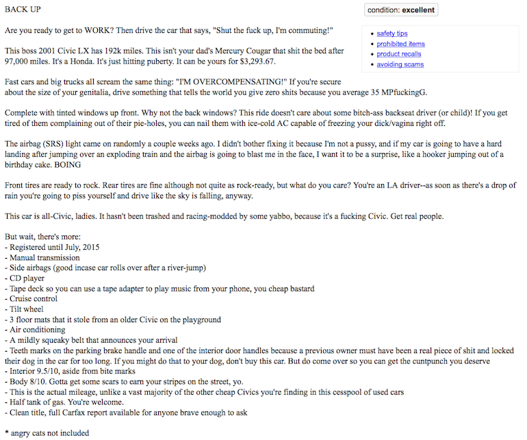This Is The Greatest Used Car Craigslist Posting Of All