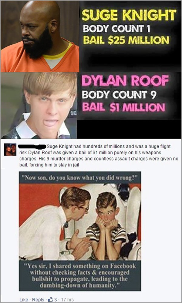 people getting called out on the internet, people called out on their bs, suge knight dylan roof bail fail