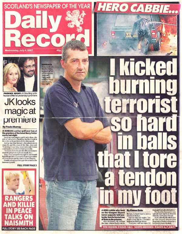 manliest photos on the internet, funny manly images, glaswegian cab driver kicks terrorist in balls