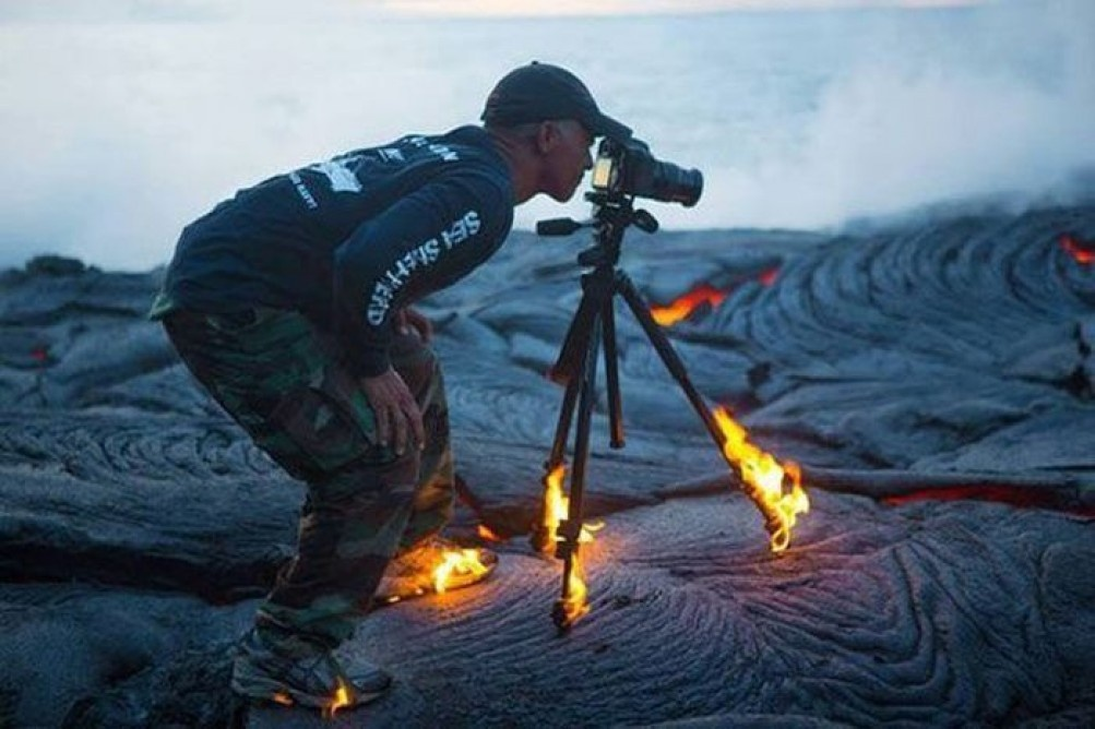 manliest photos on the internet, funny manly images, photographer miles morgan shoes on fire lava