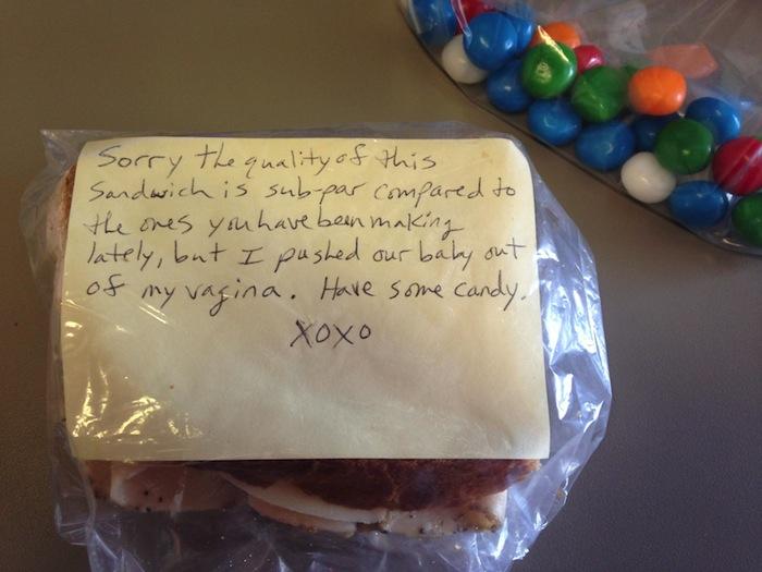 wife's subpar sandwich note