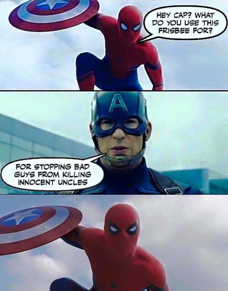 superheroes being super a-holes, superheroes being jerks funny, captain america spider-man killing innocent uncles