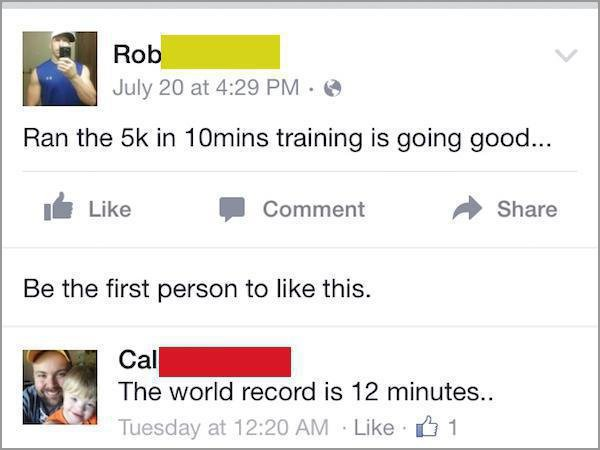 people getting called out on the internet, people called out on their bs, funny 5k in 10 minutes world record status