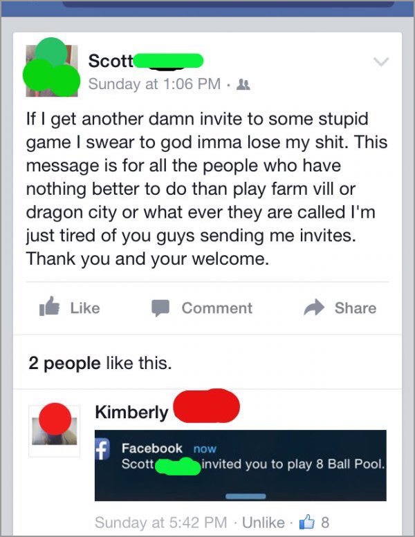 people getting called out on the internet, people called out on their bs, funny facebook game invites scott called out