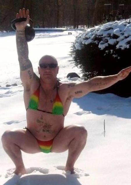 funny winter photos, funny snow photos, idiots in winter, bikini man curling