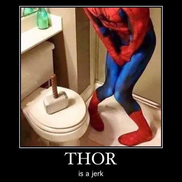 superheroes being aholes, thor v spiderman