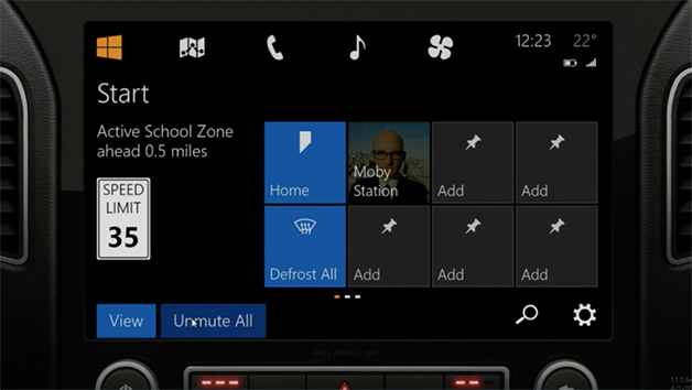 Screencap from a presentation of Microsoft's coming Windows-in-Car interface.
