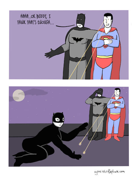 superheroes being aholes, batman & superman v catwoman