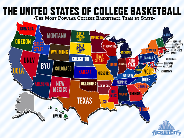 Most Por College B-ball Team By State Colledge Logos Usa Map on